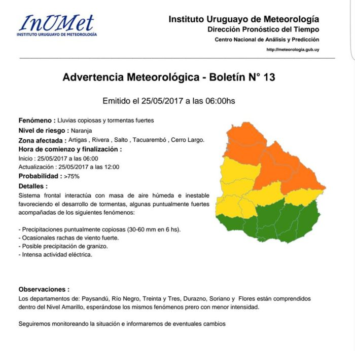Advertencia Meteorológica.